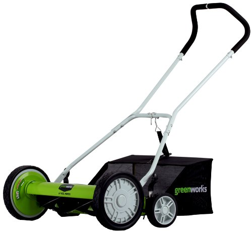 GreenWorks 25062 18-Inch Reel Lawn Mower with Grass Catcher