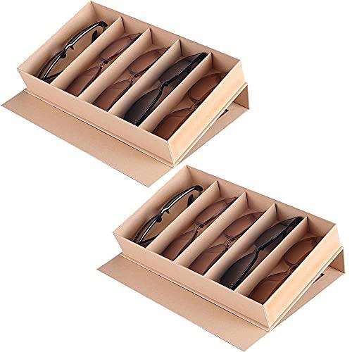 Chytaii 2PCS Organizador para Gafas de Sol Organizador de Gafas Compartimentos Caja de Almacenamiento para Gafas de Sol,Caja Organizadora Apilable para Anteojos con Tapa,27.8 * 16.5 * 5cm