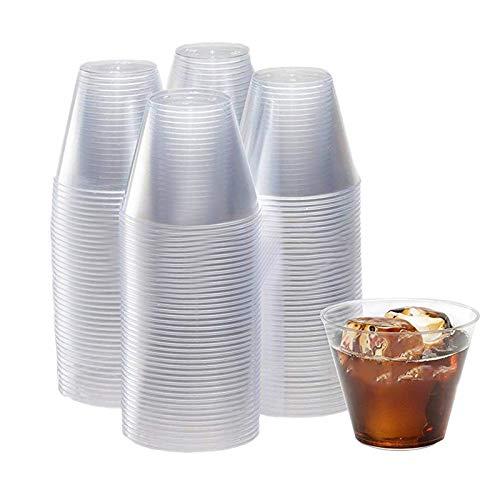 NEYOANN Vaso de PláStico Transparente de 9 Onzas 50 Juegos de Vaso Duro Desechable Vasos de Vino de PláStico CóCtel Copa de PláStico Vaso de PláStico Copa de Fiesta Grande