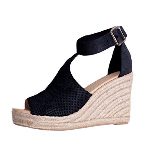 Minetom Sandali Donna Moda Espadrillas con Cinturino alla Caviglia Zeppe Corda Intrecciato Piattaforma Eleganti Dolce Estivi Allacciare Peep Toe Scarpe Sandals Nero EU 34