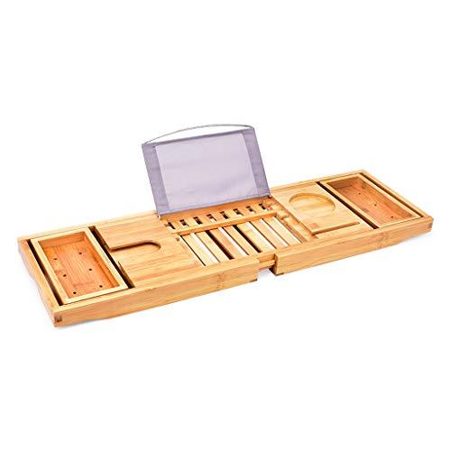 JRAVELR Bamboo Bathtub Tray Caddy With Wine Glass Book Phone And Tablet Holder, Anti-slip Telescopic Bathtub Organizer Tray Rack