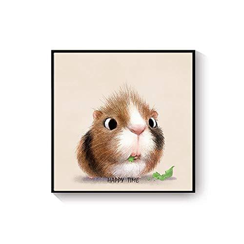 XQSB Leinwand Bild Format Wandbilder Tierchen-Hängendes Bild Der Karikatur Malerei Home Deko für Wohnzimmer Schlafzimmer Flur Wand 40X40cm Weißer Rahmen Hamster