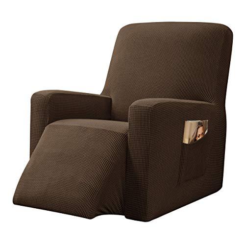 CHUN YI Strech Recliner Überzug Sessel Husse, Bezug für Relax Fernsehsessel Relaxstuhl, 1 stück Jacquard Stuhl Schonbezug mit Gummiband, Liege Sessel (Coffee)