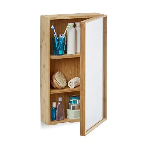 Relaxdays Bad Spiegelschrank aus Bambus, eintüriger Badezimmerschrank mit Spiegel, zusammengebauter Wandschrank, natur