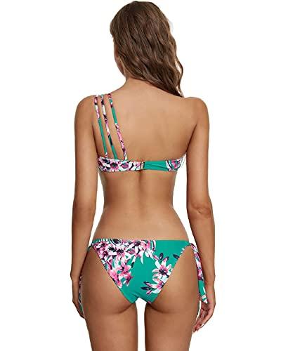 Voqeen Bikini Mujer Ropa con Estampado de Push-Up Traje de baño con Lazo Acolchado Conjunto de Bikini de Playa Acolchado Bañador Ropa Verano (A, L)