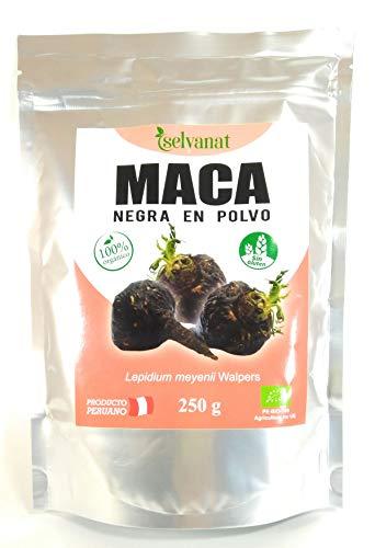 Maca Noire en poudre 250 g Non traitée, sans gluten, Bio et végane. Énergie, fertilité, équilibre hormonal et santé sexuelle féminine et masculine.