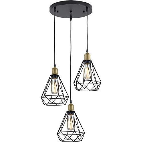 VISTANIA Araña de Tres lámparas, araña de Jaula de Alambre de Metal, lámpara de Techo Colgante Antiguas, usadas en la Mesa de Comedor de la Isla de la Cocina Dormitorio del Corredor, 3 × E27,