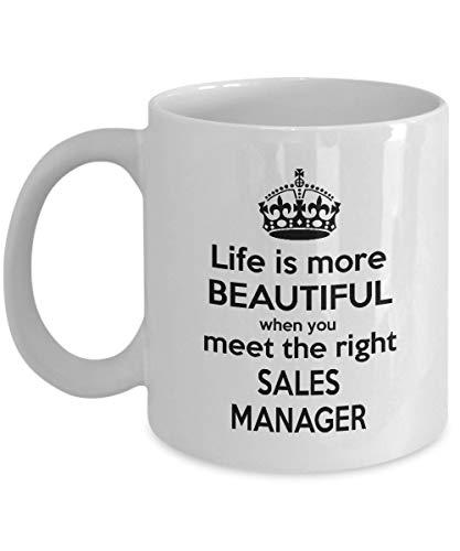 Het leven is mooier wanneer je de juiste Sales Manager koffiemok ontmoet - Genolijk cadeau idee voor vrouwen, mannen, papa, moeder, broer, vrienden - op verjaardag, Kerstmis - witte thee kopje