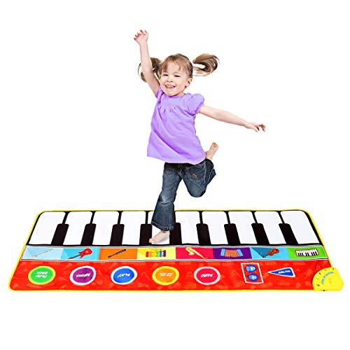 """M SANMERSEN Piano Mat for Kids, 57.4"""" Musical Dance Mat with 8 Instruments Sound / Adjustable Volume Keyboard Play Mat Colorful Touch Play Blanket Toys for 3-8 Years Old Girls Boys"""