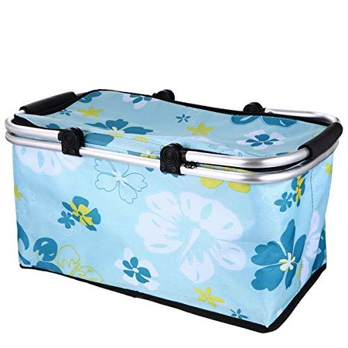 Cabilock Picknickkorb Lunchbox Lebensmittel Warm Aufbewahrung Kühlbox Kühltasche Isoliertasche Kühlkorb Einkaufs-Korb Falt-Box Trage-Korb für Camping Picknick Party Grün