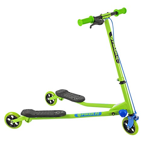 Yvolution Y Fliker Air A1 Swing Wiggle Scooter | Three Wheels Drifter for Boys and Girls Age 5 Years Old and Up (Green)