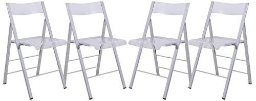 LeisureMod Menno Modern Transparent Acrylic Folding Chair (Set of 4)
