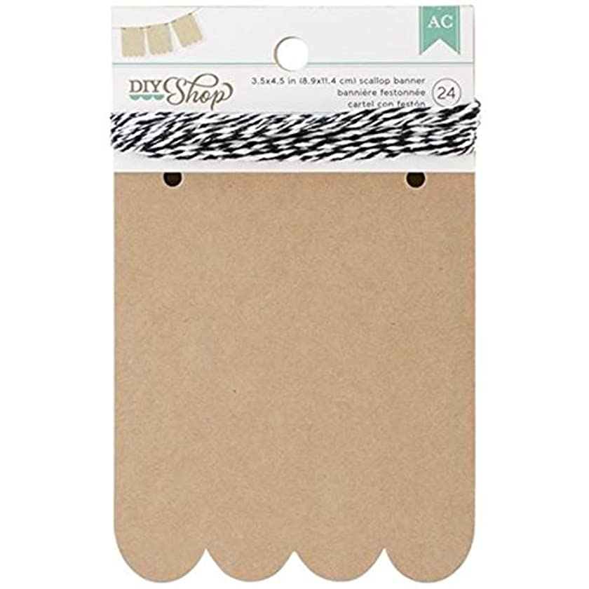 American Crafts 24-Piece Scallop DIY Shop Kraft Banner, 3.5 by 4.5-Inch