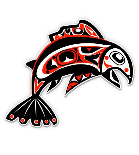 GT Graphics Pacific Northwest Native Art Fish Tribal - 5' Vinyl Sticker - For Car Laptop I-Pad - Waterproof Decal