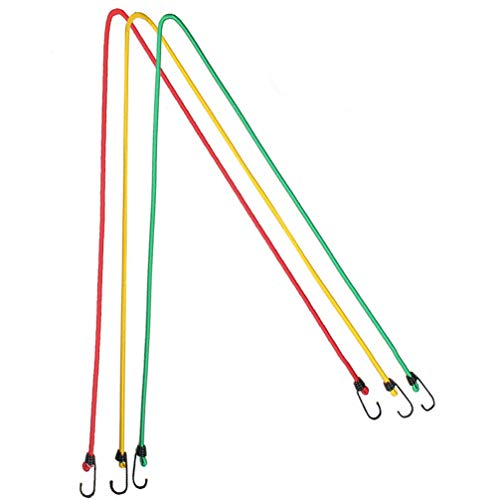 CLISPEED 3 Uds Cuerdas Elásticas Clásicas de Engranaje de Motorista con Ganchos Corbatas de Dosel de Servicio Pesado Cuerda Elástica de Bola 8Mm 1 2 M