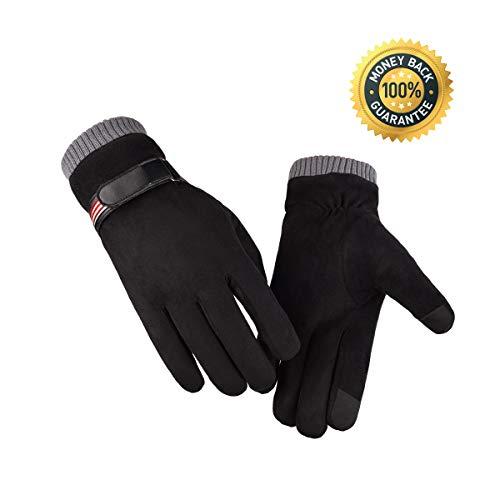 Vohoney Handschuhe Herren, Winter Touchscreen Handschuhe Warme Winterhandschuhe Sports Handschuhe Winddicht Künstliches Wildleder Handschuhe Outdoor Laufhandschuhe(Herren Winterhandschuhe Schwarz)