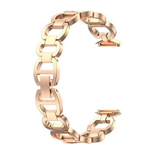 TRSX Bandas de reemplazo de Metal Enlaces Ajustables Accesorios de Acero Inoxidable Pulsera Pulsera Correa Mujeres Hombres (Color : Rose Gold, Size : For Fitbit)