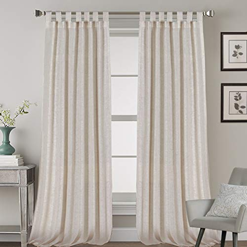 Natural Effect Extra Long Curtains Made of Linen Mixed Rich Material, Tab Top Curtains Pair Window Curtains/Drape/Panels for Bedroom (Set of 2, 52 by 108 Inch, Angora)