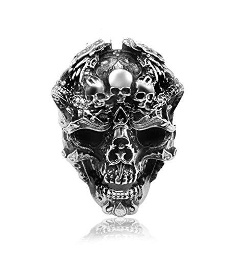 VIVIANSHOP Anillo de plata de ley 925 para hombre, estilo hip hop, punk, cabeza de cráneo, anillo grande, locomotora, personalidad dominante, anillo abierto, Talla única