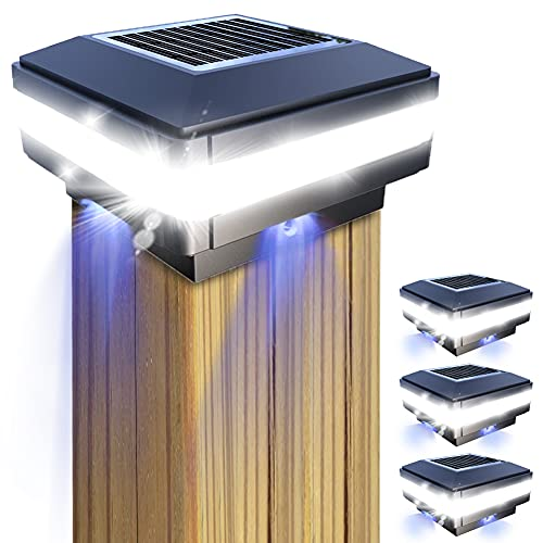 Solar Pfostenkappen Licht, GEYUEYA Home Solarlampe Außen Solar Zaunpfosten Lampe Solar Säulenlampe Landschaft Lampe IP65 Wasserdicht für hölzerne Pfosten, Plattform, Patio, Zaun beleuchtung(4 Stück)
