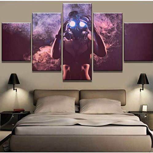 Rjbzd 5 Stück Leinwand Kunst Gasmaske Inhalation Bild Decor Gemälde Auf Leinwand Wandkunst Für Hauptdekorationen Wanddekor Kunstwerk