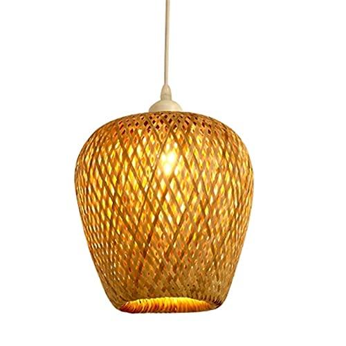 Wlgt Trabajo de bambú moderno Tejido de bambú tejido a mano Araña Restaurante Linterna de bambú hecha a mano Lámpara de araña Hotel Inn Casa de té Comedor Lámpara colgante LED de bambú tejida a mano E