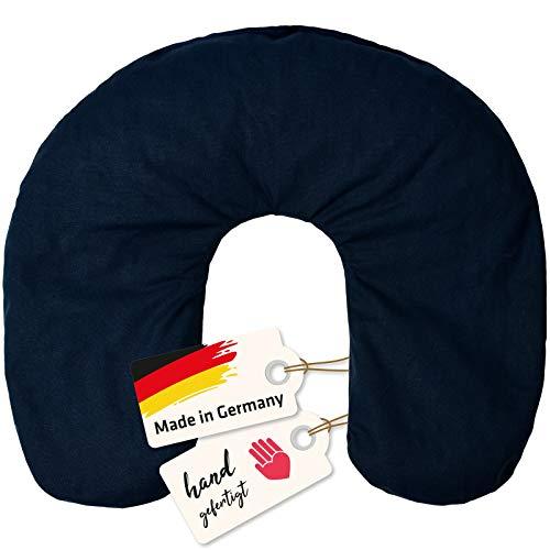 Asigo Nackenhörnchen I Kirschkernkissen, Nackenkissen I Wärmekissen für Schulter, Nacken, 35 x 38 cm, blau I Made in Germany