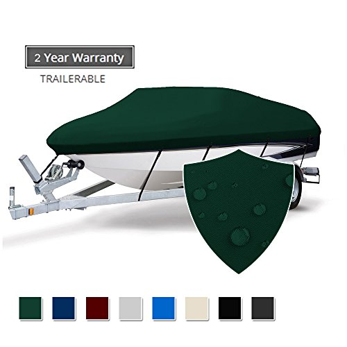 Seamander Trailerable Runabout Boat Cover Fit V-Hull Tri-Hull Fishing Ski Pro-Style Bass Boats, Full Size (Forest Green, 17'-19'L Beam Width up to 96')