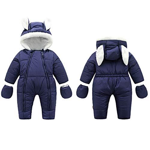 Baby overall winter, kleine kinderen jongens meisjes romper met capuchon footed handschoenen sneeuwpak warm speelpak jumpsuit kledingset 80cm/12-18M Donkerblauw konijn zonder poten.