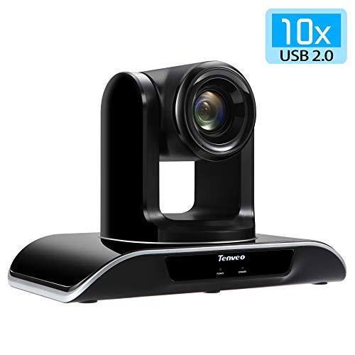 Tenveo 10x Optischer Zoom Professsionelle Konferenzkamera, 1080p Full-HD Weitwinkel Fernbedienung Webcam, USB PTZ Kamera für Live Streaming, Videokonferenzen, Kirche (TEVO-VHD102U)
