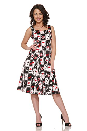 Hearts & Roses Damen Dueces Wild Swing Kleid - Schwarz - 42