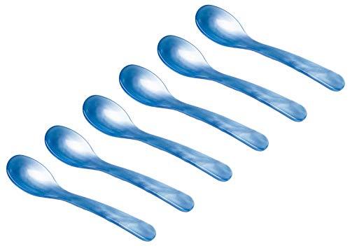 Heim Söhne 6 Acryl Löffel im Set als Servierlöffel Diplöffel Eierlöffel Frühstückslöffel Dessertlöffel Kinderlöffel in Perlmuttoptik (Blau)