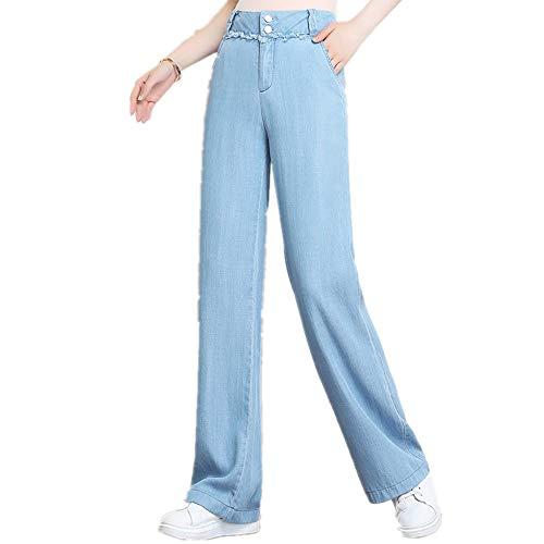 N\P Tencel Denim Pantalones De Pierna Ancha Tamaño Suelto Cintura Alta Delgada Hielo Seda Drape Denim
