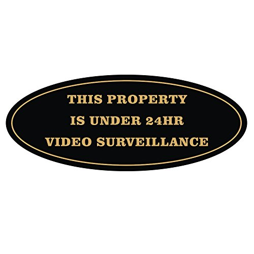All Quality Oval Property Under 24HR Video Surveillance Sign - Black/Gold - Small