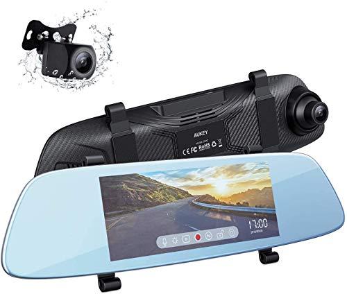 Aukey Dashcam-spiegel, 6,8 inch LCD-touchscreen, achteruitrijcamera met 1080p voorcamera en 720p achtercamera, waterpistoolcamera met parkeermodus, G-sensor, bewegingsdetectie, loop