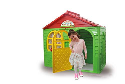 Jamara 460500 Speelhuisje Little Home groen – van robuust kunststof, montage, stabiel insteeksysteem, gemakkelijk te reinigen, geschikt voor binnen en buiten, deur/ramen laten open, gordijnen