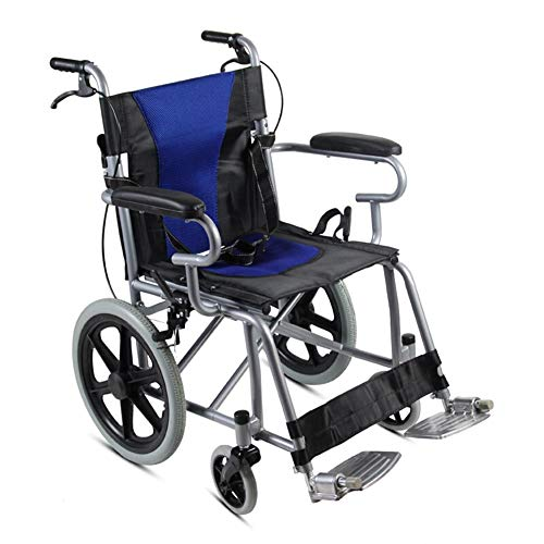 Stalen rolstoel-kinderopvouwbare lichtgewicht rolstoel, dubbele remmen, massieve banden, geschikt voor thuis en medisch (kleur: blauw)