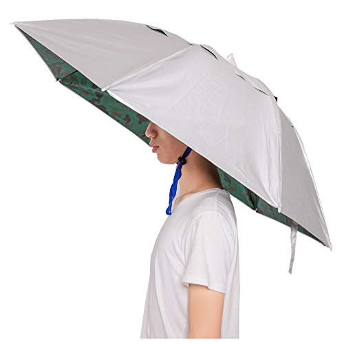 Umbrella Hat with Tighten Clip Head Wear for Fishing Gardening Outdoor Hiking-Camouflage