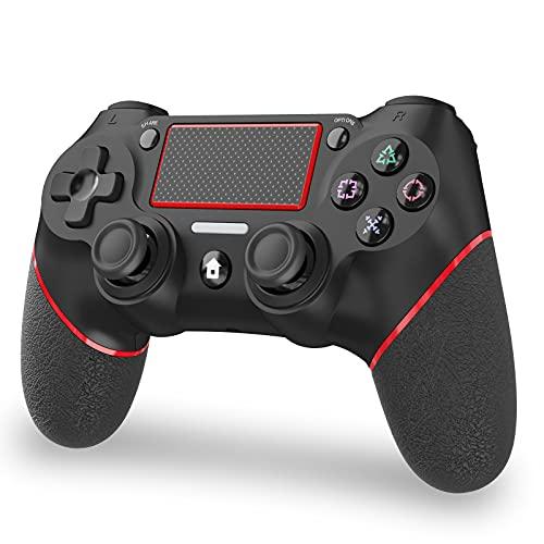 PS4 コントローラー Bluetooth5.0接続 600mAh HD振動機能 重力感応 ゲームパット イヤホンジャック ジャイロセンサー PS4対応 充電ケーブル付き 日本語取扱説明書(赤)
