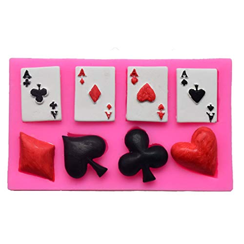 4 Aces Poker Playing Cards Hearts Diamonds Spades Clubs for Chocolate Fondant Cake Cupcake Topper Decor Gum PastePolymer Clay Candy Resin Silicone Mold Tool