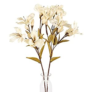 AILANDA 2PCS Artificial Flowers Lily Long Stem Spring Silk Flower Arrangement Milk White Silk Greenery Real Touch for Home Party Wedding Table Floral Centerpieces
