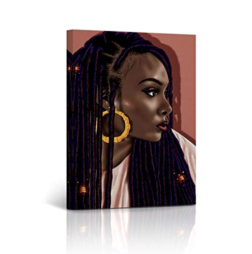 Buy4Wall Sexy African Woman Rasta Hair Pink Background Digital Painting Canvas Wall Art Print African American Home Decor Living Room Bedroom Ready to Hang - Made in USA - 12x8