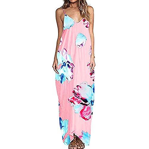FOTBIMK Vestidos para mujer estampado floral con cuello en V sin mangas vestido largo de playa casual
