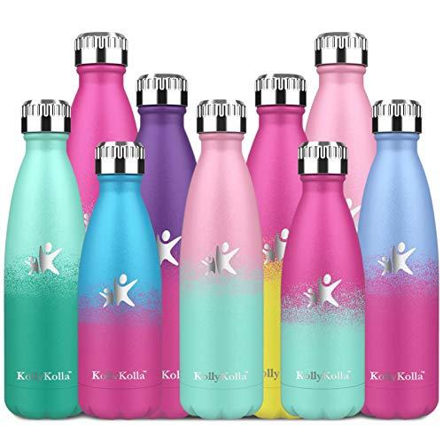 KollyKolla Botella de Agua Acero Inoxidable, Termo Sin BPA Ecológica, Botellas Termica Reutilizable Frascos Térmicos para Niños & Adultos, Deporte, Oficina, Ciclismo, (350ml Rosa + Macaron Verde)