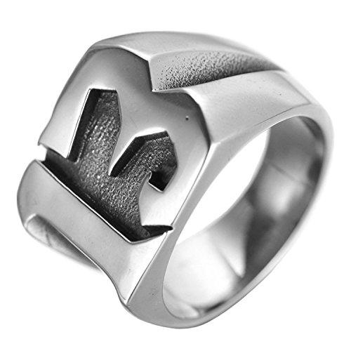 ALEXTINA Herren Edelstahl Glücklich Nummer 13 Biker Ring Silber Ring Hoch Poliert Größe 68