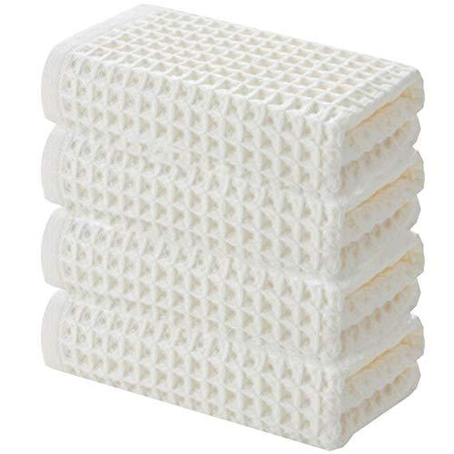 DLRBWAN Toallas de baño, 4 Piezas de Conjuntos de Toallas de algodón de Color Puro, Conjuntos de Toallas Suaves y súper absorbentes, adecuados para Conjuntos de Toallas de baño y Cocina