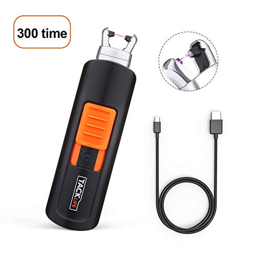 Lighter, Tacklife ELY03 Electric Arc Lighter, USB Rechargeable Electric Lighter with Li-Ion Battery 300 Times Spark for Per Charge, Windproof Pocket & Candle Lighter for Indoor and Outdoor