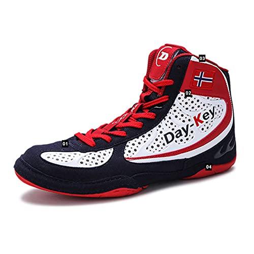 WJFGGXHK Zapatos de lucha, suela de goma botas de boxeo antideslizantes Taekwondo entrenamiento zapatillas deportivas para hombres, mujeres, niños y adolescentes, rojo, 39