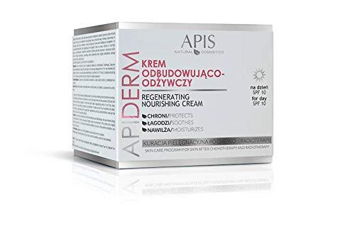 APIS APIDERM Aufbauende Gesichtscreme SPF 10 für den Tag mit Extrakt aus Tarabaum, Hafer, Leinen, Aloe, mit Vitamin A und E, D-Panthenol und Allantoin | Ernährung, Linderung und Regeneration | 50 ml