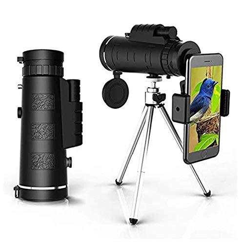 LNHJZ DZCGTP - Telescopio monocular monocular HD 40 x 60, resistente al agua, antiempañamiento con trípode adaptador para smartphone para observación de aves, senderismo y turismo de conciertos